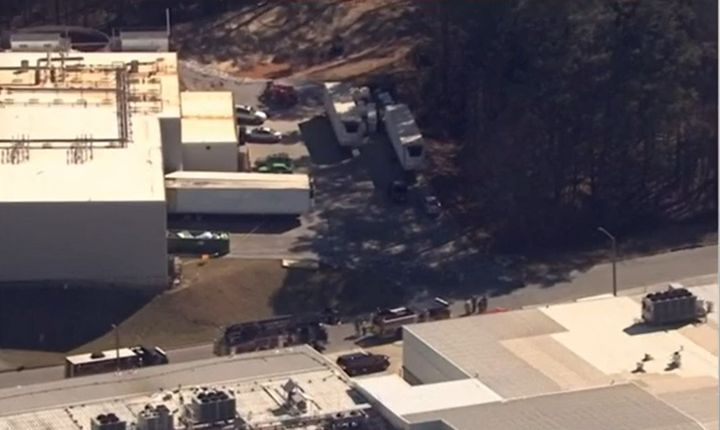 Aerial view of a Gainesville, Georgia, poultry plant following a hazmat emergency Thursday morning that killed six. - Screencapture Via WSBTV