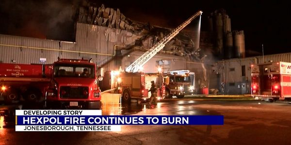 Little more than the facade remains after a massive fire at Hexpol Compounding in Jonesborough,...