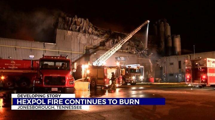 Little more than the facade remains after a massive fire at Hexpol Compounding in Jonesborough, Arkansas. - Screencapture Via WJHL