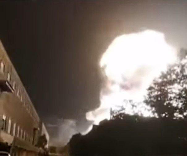 A fireball rises from a burning battery recycling plant in Ningxiang, China. - Screencapture Via Recycling International