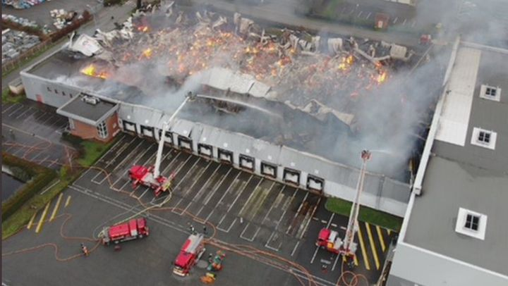 Aerial view of the devastated Lutti candy factory warehouse in Bailleul, France. - Photo Courtesy of SDIS 59