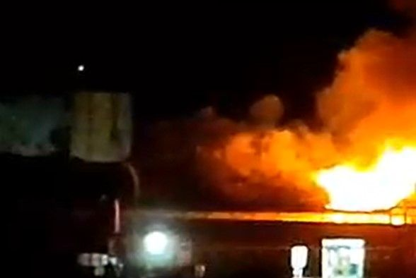 Fire broke out at a commercial structure Thursday evening in Warden, Washington.  - Screencapture Via Grant County Sheriff's Office
