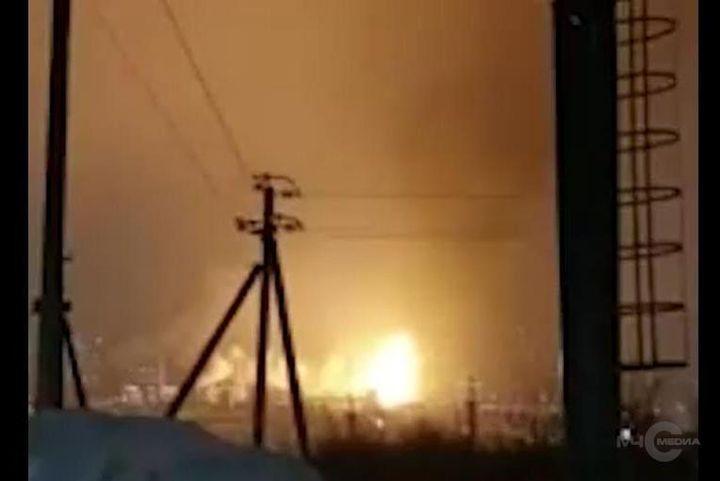 Massive flames rise from the Ufaorgsintez refinery Monday in Ufa, Russia. - Photo courtesy of EMERCON