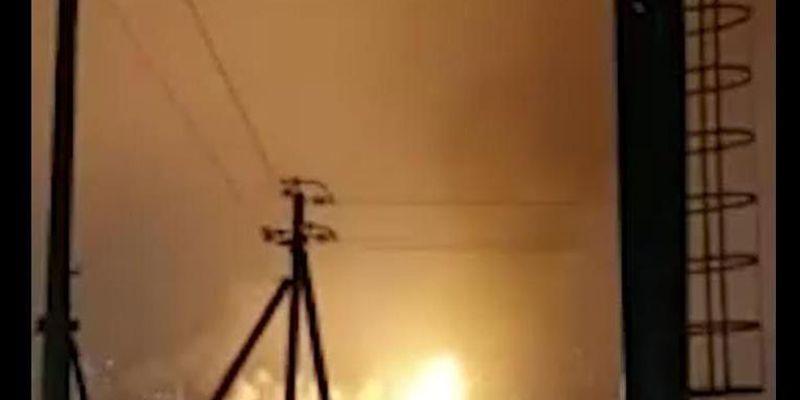 Massive flames rise from the Ufaorgsintez refinery Monday in Ufa, Russia.