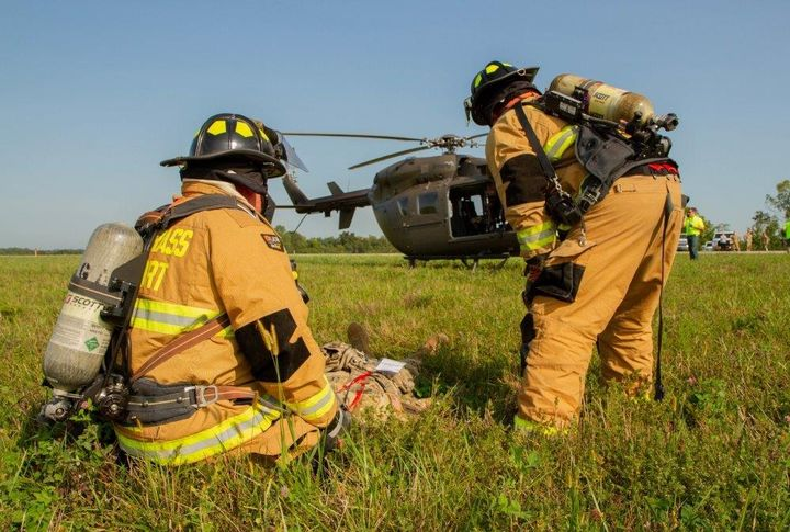 This training exercise involved a helicopter crash on the airfield.  - Lexington Blue Grass Airport