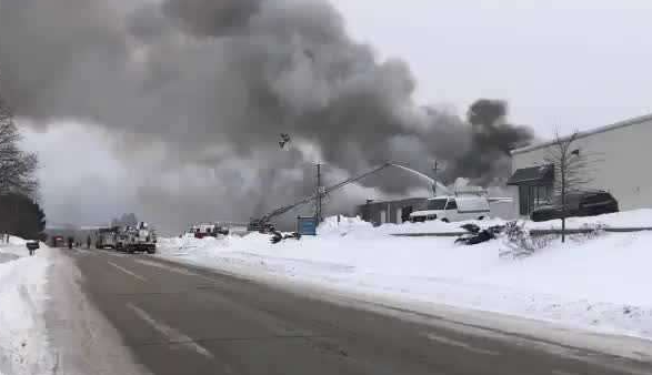 - At least eight fire departments were called to battle a fire in a Town of Brookfield, Wisconsin, industrial park.