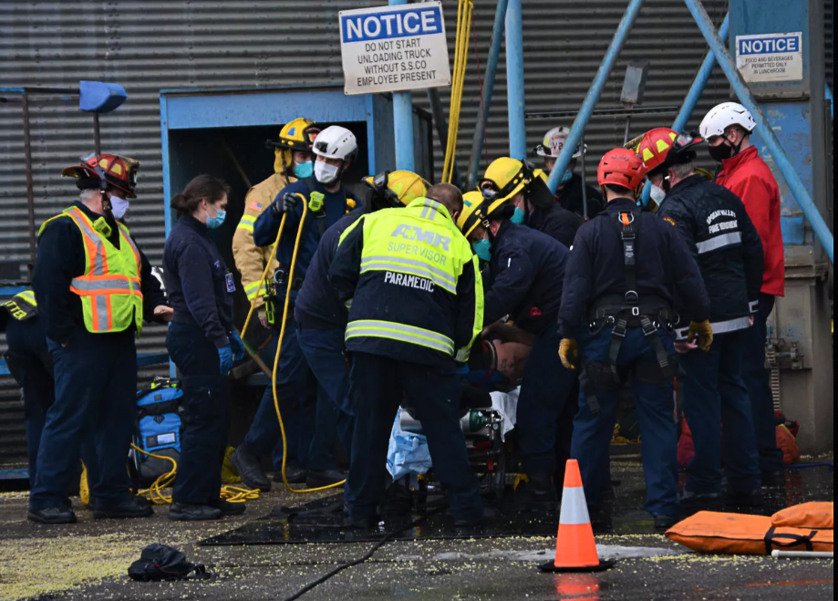 Fire Crews Rescue Man After Fall Into Grain Elevator