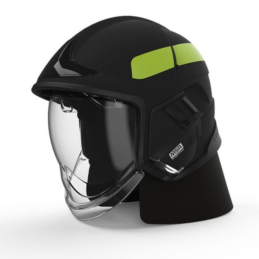 The jet-style design of the Cairns® XF1 Fire Helmet reduces snag hazards, provides a personalized fit, and houses its own integrated light module. -