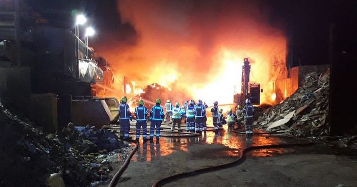 A huge fire that broke out at a recycling waste industrial estate on March 6 in North London is under investigation. - Screencapture North London News
