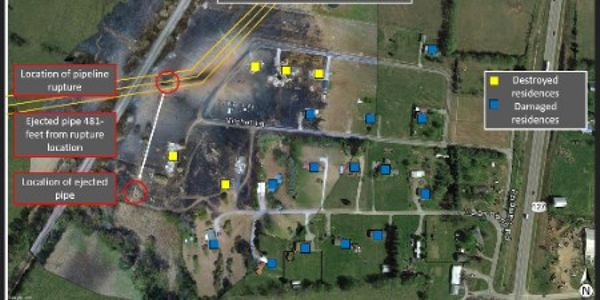 This illustration shows the post-rupture aerial view of the accident area, the location of...