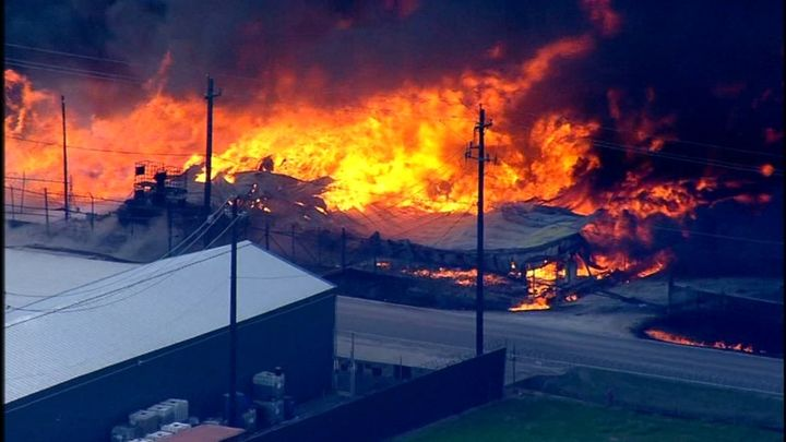 A Houston truck driver is filing a lawsuit after a massive chemical fire burned for hours at a transit facility in the Channelview area last week, reported ABC13. - Screenshot ABC13