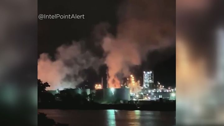 The plant caught fire late May 29 and was extinguished the morning of May 30. - Screen capture from WTOV/KDKA