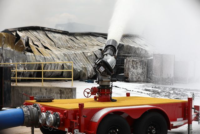 US Fire Pump has sent 27 industrial fire specialists and specialized equipment, submersible pumps, high velocity pumps, water monitors, firefighting extinguishing agents and more than 10,000 feet of hose to supplement operations. - US Fire Pump