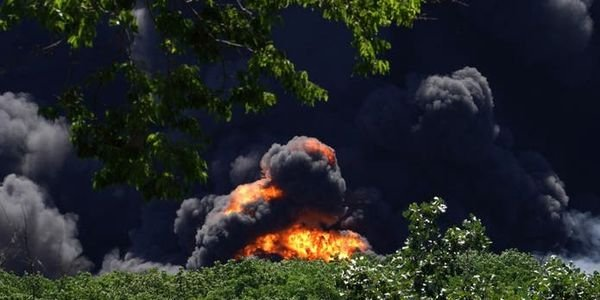 Flames and smoke from an explosion at a chemical plant in Rockton, Illinois, on Monday.