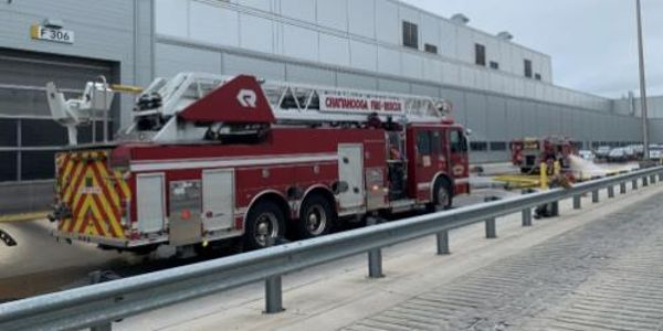 There were no serious injuries and the blaze was quickly extinguished at the Volkswagen plant.