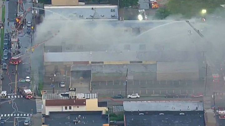 No injuries or evacuations were reported at the Jersey City, NJ, fire. - Screenshot AIR11 / PIX11 News