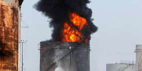Gasoline Storage Tank Erupts in Lebanon