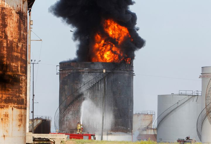 The fire reportedly resulted from an operator error as gasoline was being transported from one storage tank to another. - Reuters