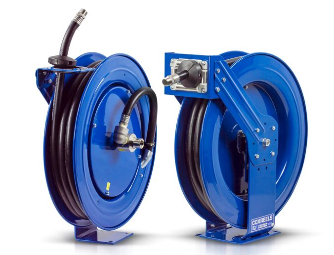 Coxreels provides professional reeling systems in heavy-duty single pedestal (SH Series) or supreme-duty dual pedestal (T Series) configurations that handle DEF hoses up to 75 feet of ¾-inch hose I.D. - Coxreels