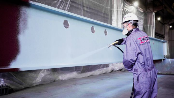 The 100% solids epoxy intumescent FIRETEX FX9502 requires a lower dry film thickness (DFT) and is easier to apply compared to competitive epoxy fireproofing coatings – providing time, labor and cost savings to applicators and building owners alike. - Sherwin Williams
