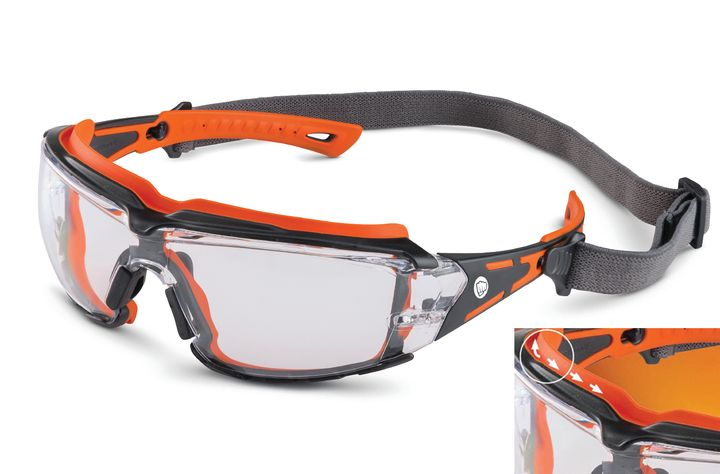 The goggles' rubber gasket seals glasses snugly against the face - Brass Knuckle