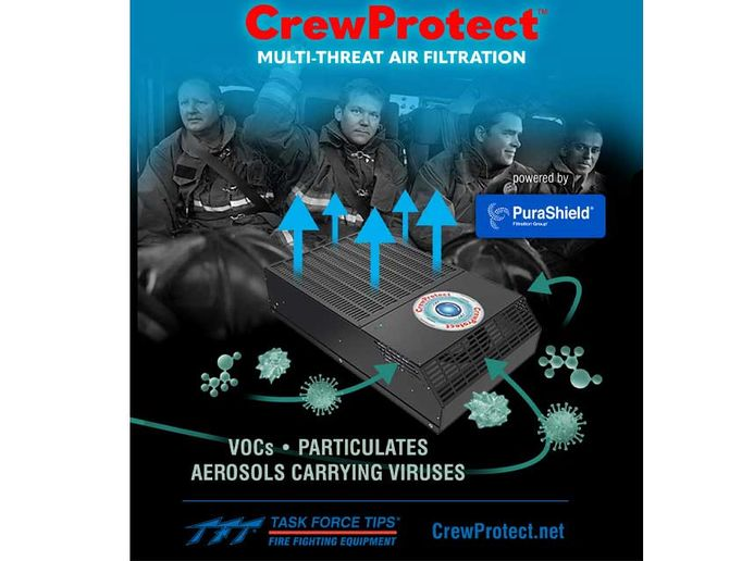 CrewProtect rapidly filters cancer-causing particulate soot and VOCs (Volatile Organic Compounds) that can off-gas for up to 45 minutes. - TFT