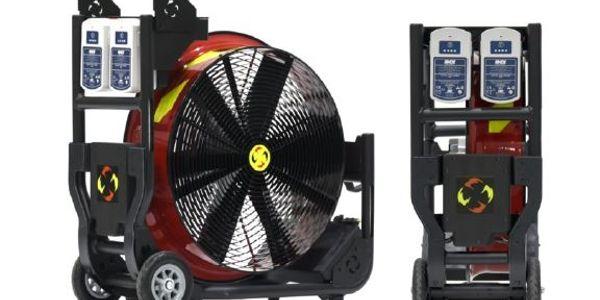 The new Super Vac fan, Model V20-BH, runs off the same batteries that power HURST eDRAULIC®...