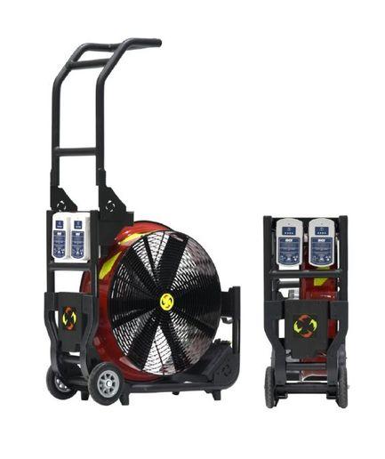 The new Super Vac fan, Model V20-BH, runs off the same batteries that power HURST eDRAULIC® Watertight Extrication Tools. - Super Vac