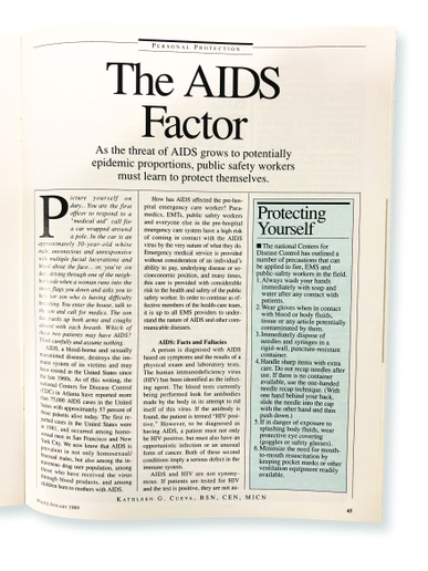 The article discusses the reality that you can't know by looking at someone if they have AIDS, so it's important for officers to wear gloves and other protection on calls when coming into contact with any bodily fluids or rendering medical aid through resuscitation.  - photo of magazine