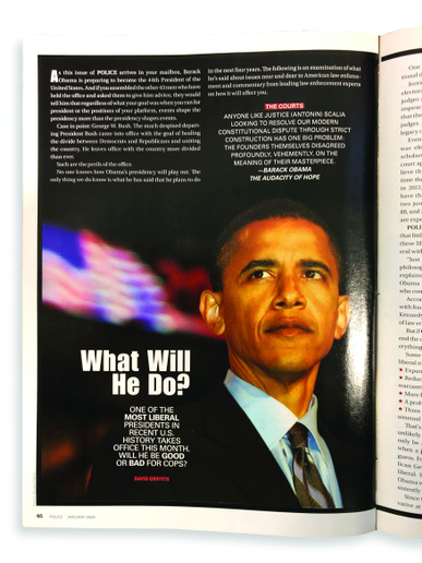 Long before calls to drain the swamp, law enforcement officers were apprehensive about President-elect Barack Obama's plans.  - photo of magazine