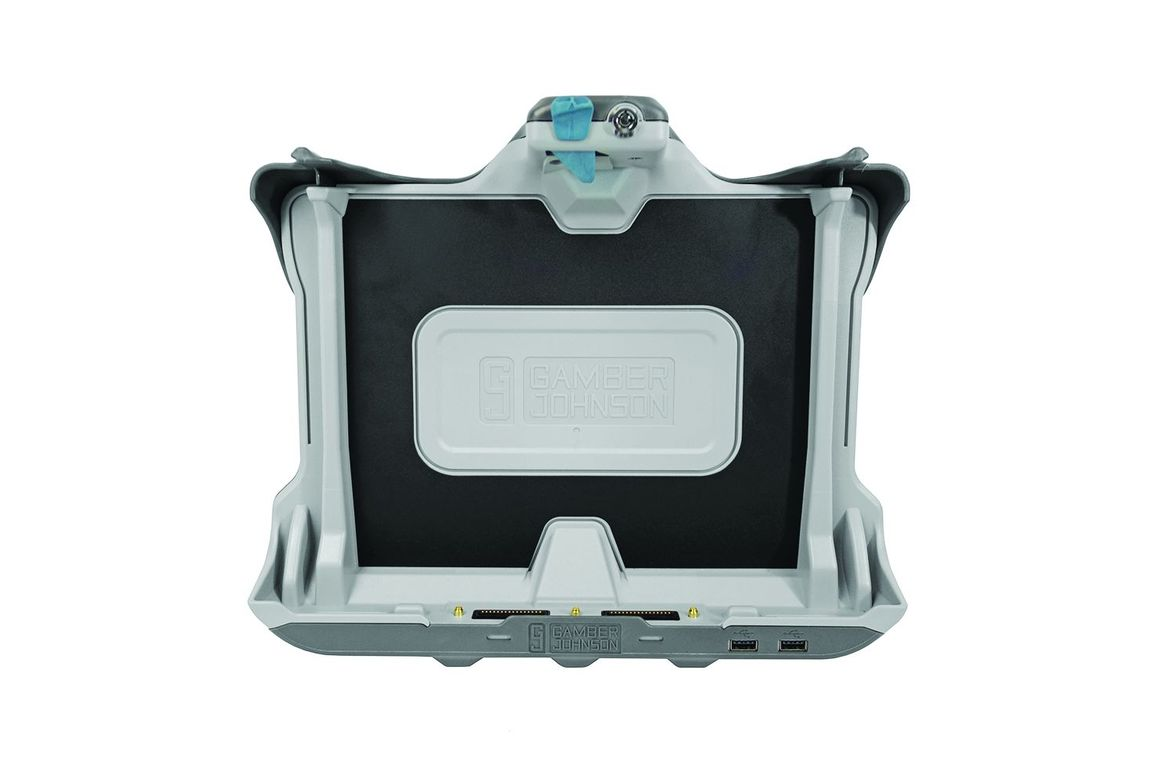 Gamber-Johnson's K120 Tablet Docking Station for the Getac K120 fully rugged tablet offers an...