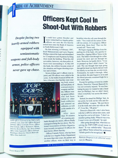 Officers outgunned in the North Hollywood received awards for their efforts.  - Image: POLICE Magazine