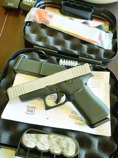 "Inside the ""Glock box."" The G48 comes with two magazines, cleaning tools, paperwork, and a gun lock.