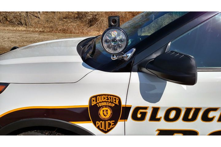 Noptic thermal imaging system atop patrol vehicle spotlight. Noptic uses the pan and tilt capabilities of the spotlight system to give officers the ability to view a specific target. The system comes with a spotlight head.