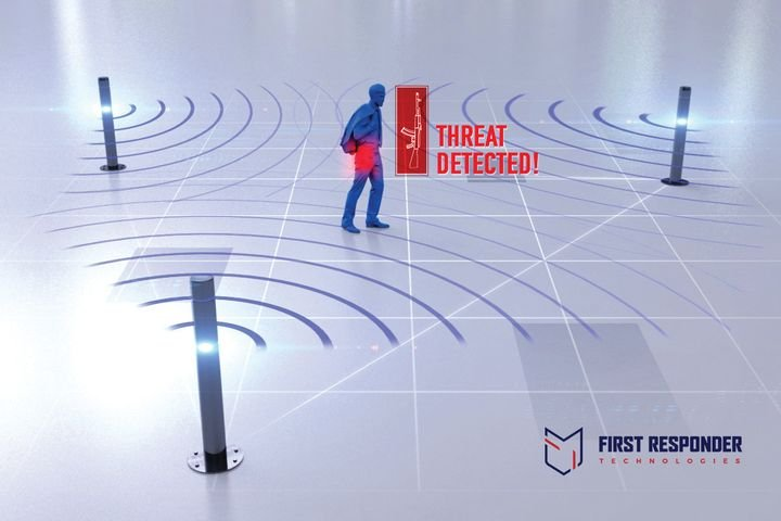 Artist rendering of how the WiFi technology licensed by First Responder Technologies can detect concealed weapons. The company hopes to have a beta product by next summer.