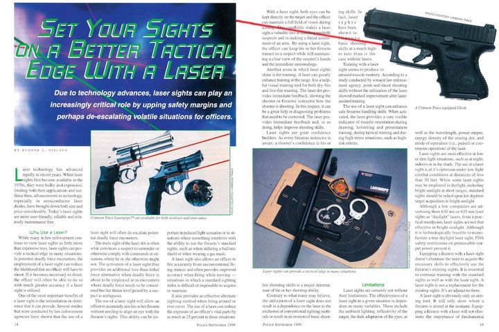 Officers still debate the pros and cons of laser sights for duty weapons, which this article covers. - Image: scan of Police Magazine pages