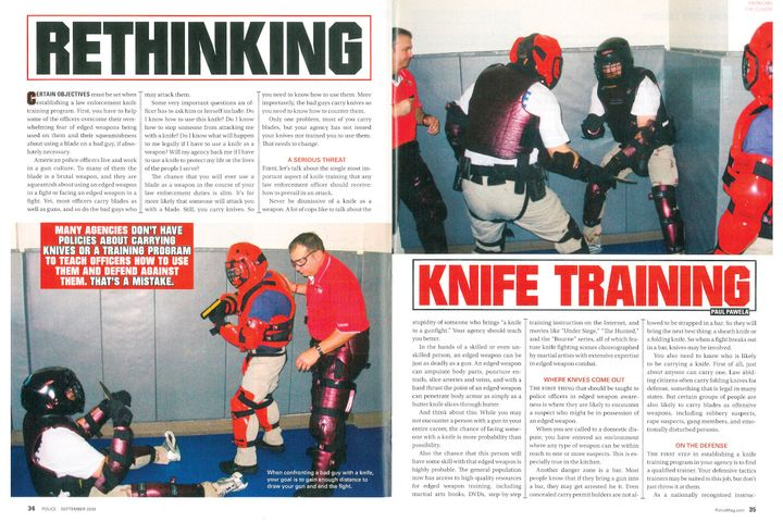"This article opens with the statement, ""Many agencies don't have policies about carrying knives or a training program to teach officers how to use them and defend against them. That's a mistake."" - Image: scan of Police Magazine pages"