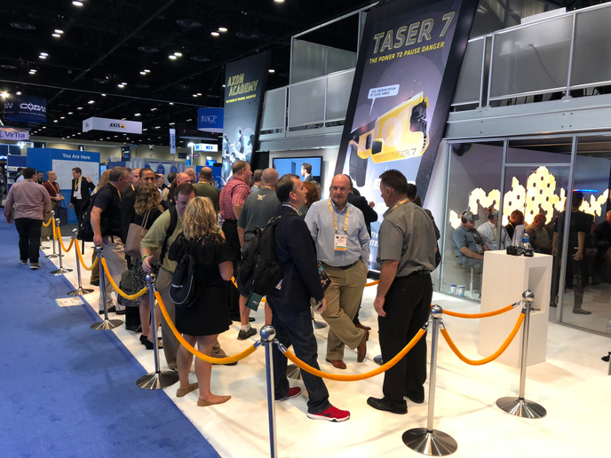 Axon continued its streak of having the flashiest booth and biggest announcements at this year's International Association of Chiefs of Police (IACP) conference.  - Photo: Axon