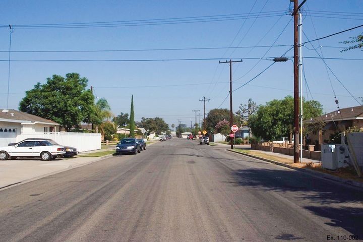 View of the residential street where Sgt. Wyatt and Officer Ellis stopped the minivan driven by Adolph Anthony Sanchez Gonzalez.