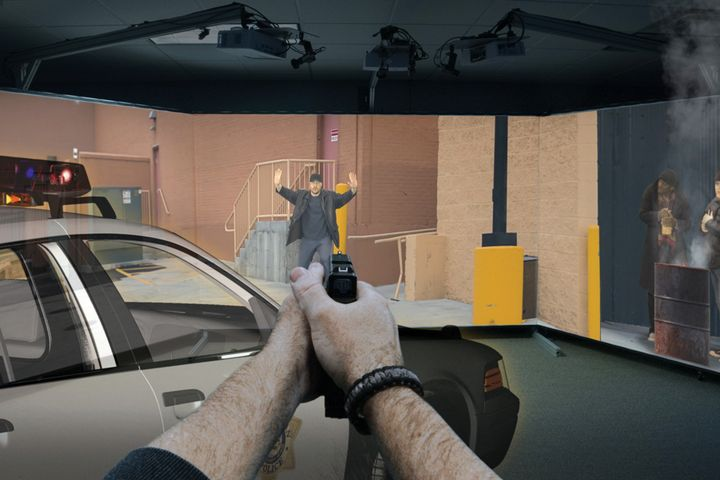 The patrol vehicle in this Ti Training Recon simulator scenario is an augmented reality (AR) image. (Photo: Ti Training) -
