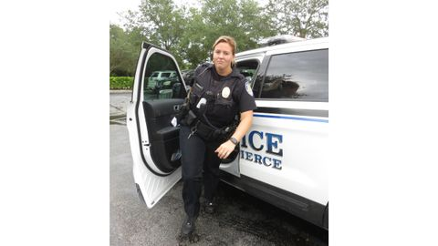 A Fort Pierce, FL, police officer wears Thorogood boots on patrol during the wear-test.