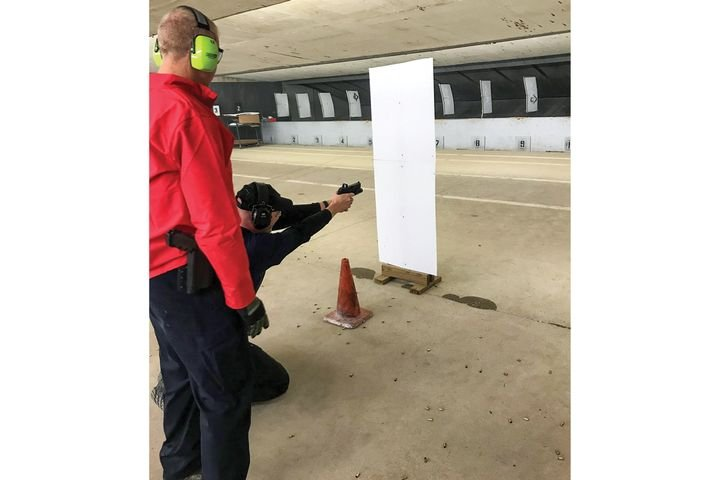 Law enforcement trainers have discovered that students make faster follow-up shots when using pistols with red dot sights. - Photo: Houston (TX) Police Department