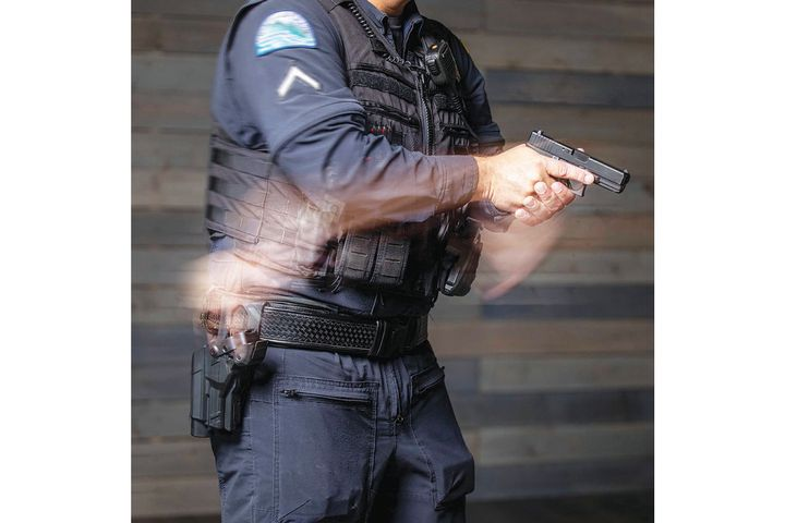 Alien Gear's new Rapid Force duty holster is designed to allow for faster draw times and to provide better mechanical defense against gun grabs. - Photo: Alien Gear Holsters