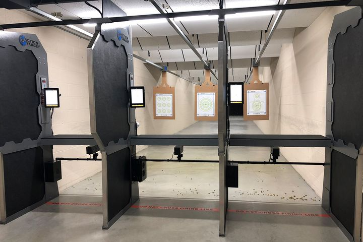 Targetscope's X-Shot uses a camera below the shooting bench, a touchscreen monitor, and a PC box that mounts to the shooting stall or ceiling to give officers immediate feedback. - Photo: Targetscope