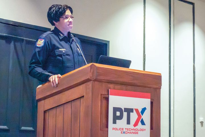 Phoenix Police Chief Jeri Williams gives one of the keynote speeches at PTX 2019. -