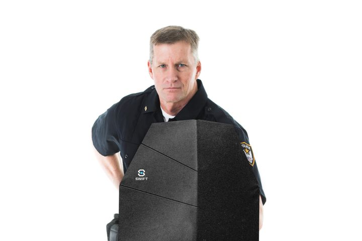 The Level IIIA ballistic Swift Shield from ATCS unfolds to deploy and collapses down to the size of a notebook. (Photo: ATCS) -
