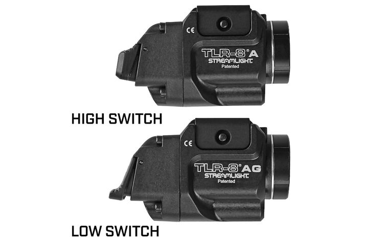 Streamlight introduced the TLR-8 A and the TLR-8 A G, offering ergonomic rear switch options with either a low or high position.(Photo: Streamlight) -