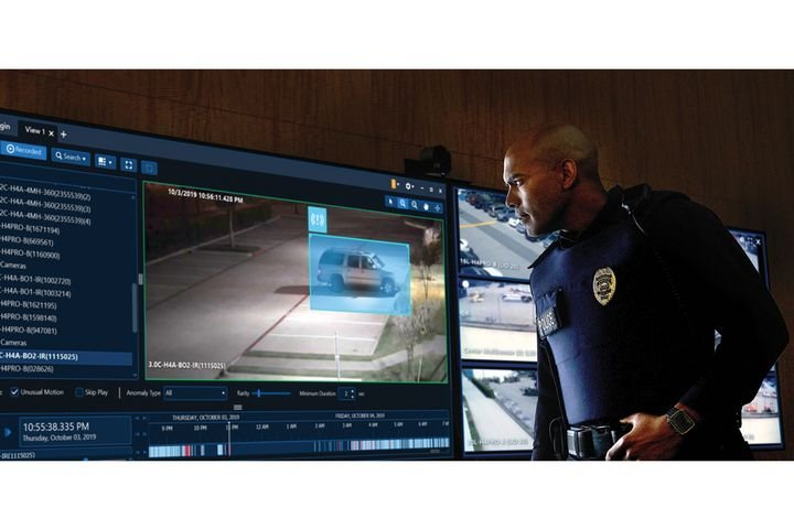 Officer monitoring the feeds from surveillance systems in Avigilon Control Room.  - Photo: Motorola Solutions Avigilon