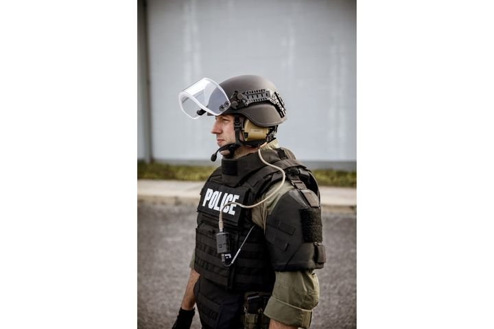 The Busch Protective AMP-1 TP Ballistic Helmet from Armor Express is the lightest composite helmet with VPAM certification in the world. It can be fitted with an optional non-ballistic face shield. (Photo: Armor Express) -