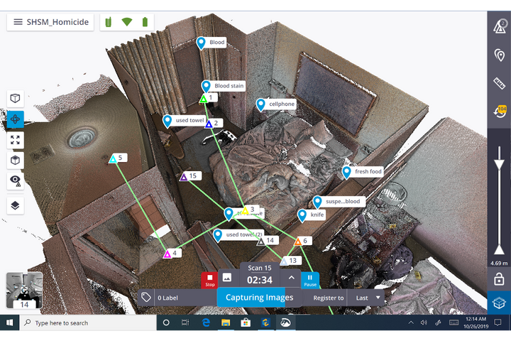 With this mocked-up crime scene set in a hotel room, a variety of evidence is identified in the point cloud relative to each other and the entire room in 3D. It was created using the Trimble X7 3D Laser Scanning System combined with Trimble Forensics Capture field software. - Photo: Trimble